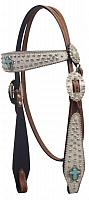 427 Hair on cowhide overlay headstall with turqoise cross conchos