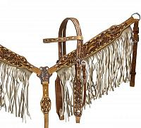 6014 double double stitched leather headstall and breast collar set with tan suede fringe and floral tooling