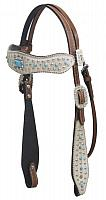 480 Hair on cowhide overlay headstall with turqoise stone conchos.