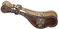 4927 ladies spur strap with hair on cowhide inlay cross design