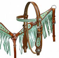13011 Pony size glitter star fringe headstall and breast collar set.