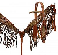 5009 Bronze fringe headstall and breast collar