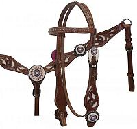 5016 Beaded Concho Headstall and Breast Collar with Cowhair Inlay