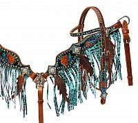 5026 Metallic painted headstall and fringe breast collar set