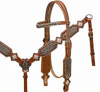 5075 Headstall and breast collar with filigree print overlay and crystal rhinestone conchos