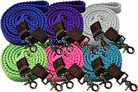549050 7.5 ft long white cotton roping reins with scissor snap ends.
