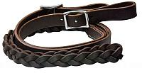 5645 One piece leather braided middle roping rein with buckles