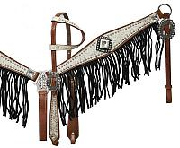12915 Medium leather headstall and breast collar set with silver and white filigree overlay with black suede fringe.