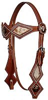 583 double stitched leather silver beaded diamond shaped browband headstall with hair on cowhide