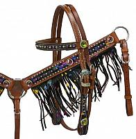 13016 Pony size metallic splash hair on cowhide fringe headstall and breast collar set