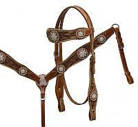 6057 double stitched tooled leather headstall and breast collar set accented with large crystal rhinestone conchos