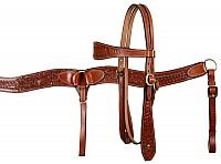 607 double stitched leather wide browband headstall and breast collar set