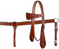 608 double stitched leather wide brow band headstall and breast collar set