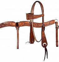 609 double stitched leather wide browband headstall and breast collar set