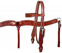 610  double stitched leather browband headstall and breast collar set