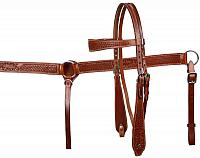 611 double stitched leather wide browband headstall and breast collar set