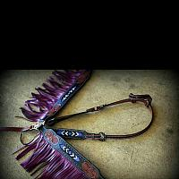 12916-Purple Black and medium leather headstall and breast collar set with beaded inlay and suede fringe.