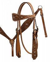 6480 Double Stitched Leather Headstall with Floral Tooling