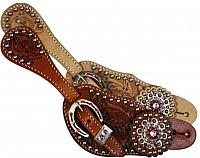 7125 Ladies spur strap with acorn tooling accented with pink crystal rhinestones