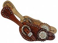 7126 Ladies spur strap with acorn tooling accented with clear crystal rhinestones