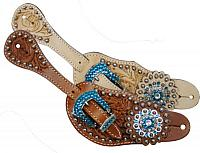7133 Ladies Tooled Leather Spur Straps with Blue Rhinestone Hardware and conchos