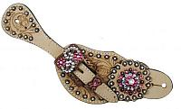 7136  Ladies Tooled Leather Spur Straps with Vintage Style Buckle and Crystal Rhinestone Conchos