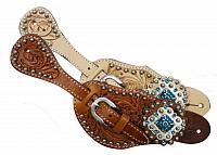 7137 Ladies Tooled Leather Spur Straps with Diamond Shaped Blue Rhinestone Conchos