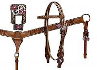 7143  Double Stitched Leather Headstall and Breastcollar Set with Vintage Style Buckles and Crystal Rhinestones