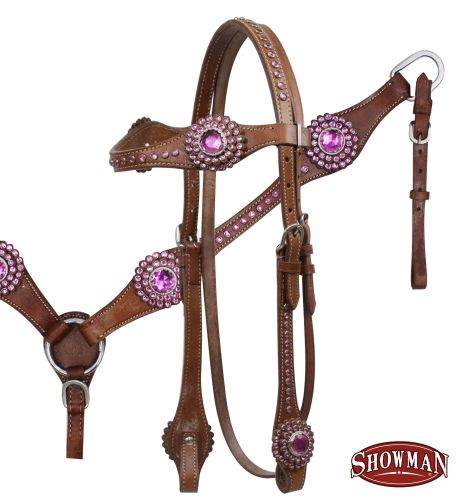 7171 Leather browband headstall and breastcollar set with Pink or teal rhinestones on browband and cheeks.