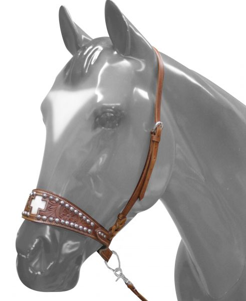 7177 Tie down Noseband features cut out cross with hair on cowhide inlay