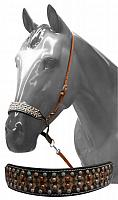 7555 Adjustable studded noseband with tie down strap