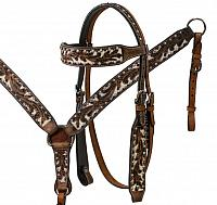 7556 Headstall and breast collar set with acorn tooling and painted studs