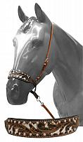7556 Adjustable painted tooled noseband with tie down strap