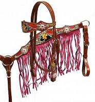 8042 Pink fringe headstall and breast collar set