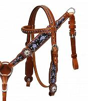 8057 Pony/Small horse size hand painted purple headstall and breast collar set