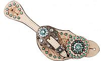 8071 LADIES SIZE Teal crystal rhinestone spur straps with floral tooling