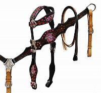 85012 Alligator print inlay headstall and breast collar set with pink buck stitch