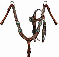 85017 Brown and teal alligator print headstall and breast collar