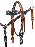 87017 Snake print headstall and breast collar set with crystal rhinestones