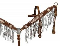 13115 Crystal rhinestone fringe headstall and breast collar