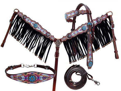 10372E LIMITED EDITION Southwest design headstall and breast collar set.