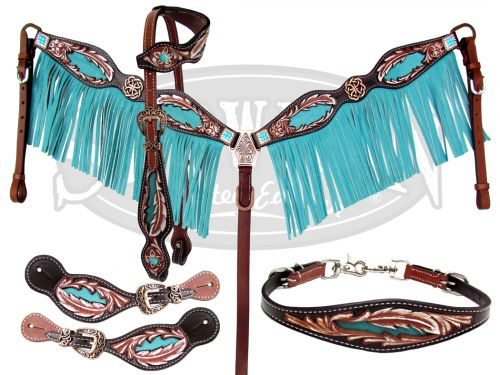 10373E LIMITED EDITION 5 Piece tooled feather set with turquoise fringe.