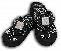 FF01 Ladies western bling flip flops with barrel racer concho