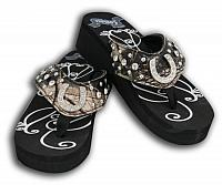 FF02  Ladies western bling flip flops with horse shoe conchos