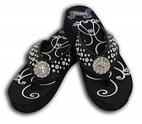 FF03 Ladies western bling flip flops with crystal star concho