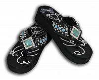 FF04 Ladies western bling flip flops with turquoise stones