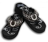 FF05 Ladies western bling flip flops with horse shoe conchos and snake print band