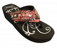 FF07 Ladies western flip flops with pink camo and pink crystal rhinstone crossed guns concho