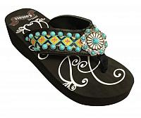 FF09  Ladies western flip flops with Southwest embroidery with turquoise stone concho and studs.
