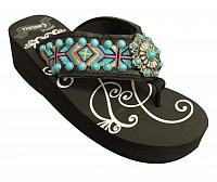 FF10 Ladies western flip flops with Southwest embroidery with turquoise stone concho and studs.
